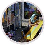 Deep Elum - Artist At Work  Round Beach Towel