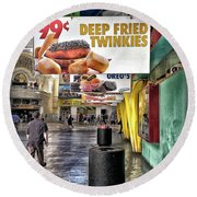 Deep Fried Twinkies Round Beach Towel