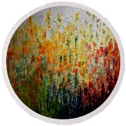 Deep Garden Round Beach Towel