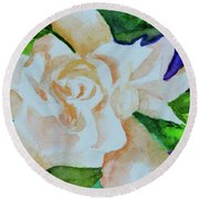 Round Beach Towel featuring the painting Deep Gardenia by Beverley Harper Tinsley