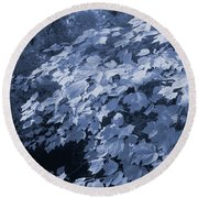 Deep In The Blue Forest Round Beach Towel