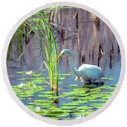Deep In The Water Round Beach Towel