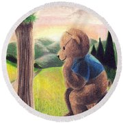 Deep In Thought Round Beach Towel