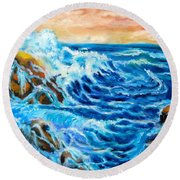 Round Beach Towel featuring the painting Deep by Jenny Lee