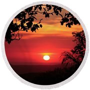 Deep Orange Sunset Round Beach Towel