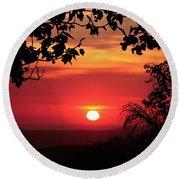 Deep Orange Sunset Round Beach Towel by Ellen O'Reilly