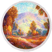 Radiant Peace, Colors Of Fall Round Beach Towel