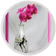 Round Beach Towel featuring the photograph Deep Pink  Orchids by Linda Phelps