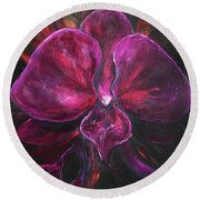 Deep Purple Orchid Round Beach Towel