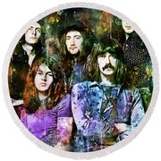 Deep Purple Together Round Beach Towel