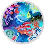 Deep Sea Nudibranch Round Beach Towel