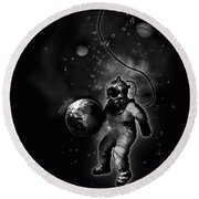 Deep Sea Space Diver Round Beach Towel
