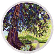 Deep Shade In The Sunken Garden Round Beach Towel