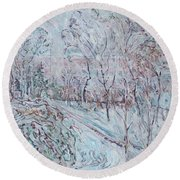 Deep Snow In Strastnoy Boulevard Round Beach Towel