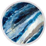 Deep Turquoise Geode Slice Round Beach Towel