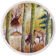 Deep Woods Camp Round Beach Towel