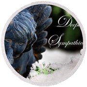 Round Beach Towel featuring the photograph Deepest Sympathies Angel by Shelley Neff