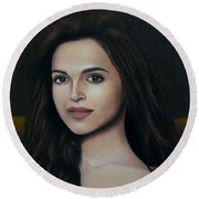 Deepika Padukone - The Enigmatic Expression Round Beach Towel