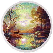 Round Beach Towel featuring the painting Deer And Dancing Shadows by Jane Small