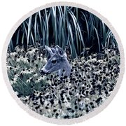 Deer And Lazy Susan Flowers Monotone Round Beach Towel by Peggy Collins