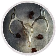 Deer Buck Skull With Fallen Leaves Round Beach Towel by Stephanie Frey
