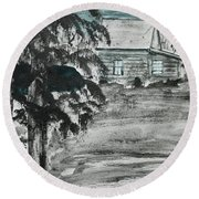 Round Beach Towel featuring the painting Deer Camp by Jack G Brauer