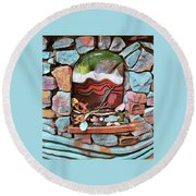 Deer Creek Altar Round Beach Towel