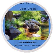 Deer Creek Ferns Round Beach Towel