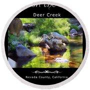 Deer Creek Ferns - White Text Round Beach Towel