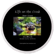 Deer Creek Ferns - White Text Round Beach Towel