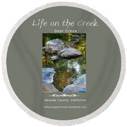 Deer Creek Point - White Text Round Beach Towel