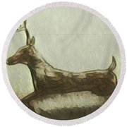 Deer Energy Round Beach Towel