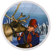 Deer Friends Of Finland Round Beach Towel