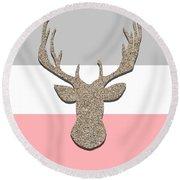 Deer Head Silhouette Round Beach Towel
