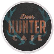 Deer Hunter Cafe Round Beach Towel by Edward Fielding