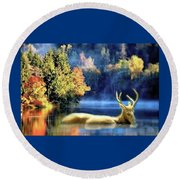 Deer In Autumn Round Beach Towel