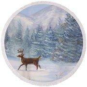 Deer In The Snow Round Beach Towel