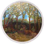 Deer In Woods Round Beach Towel