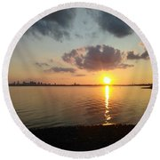 Deer Island Sunset Round Beach Towel