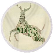 Deer Leaping Round Beach Towel