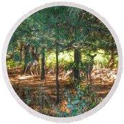 1011 - Deer Of Croswell I Round Beach Towel