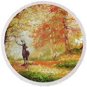 Deer On The Wooden Path Round Beach Towel