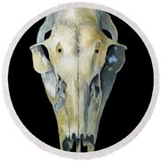 Deer Skull Aura Round Beach Towel