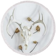 Round Beach Towel featuring the photograph Deer Skull With Antlers And Roses by Stephanie Frey