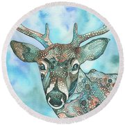 Round Beach Towel featuring the painting Deer by Tamara Phillips