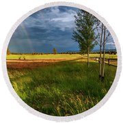 Round Beach Towel featuring the photograph Deer Under The Rainbow by Cat Connor
