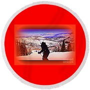 Deer Valley Utah Powder Round Beach Towel