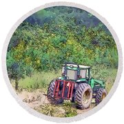 Round Beach Towel featuring the photograph Deere In The Wildflowers - Line And Ink Art by Kerri Farley