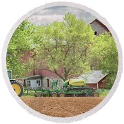 Deere On The Farm Round Beach Towel