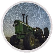 Round Beach Towel featuring the photograph Deere Trails  by Aaron J Groen